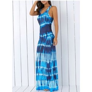 Blue Tie Dye Racerback Maxi Dress